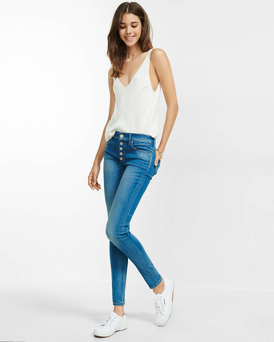 Button-Fly Jean Legging