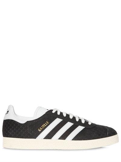 Embossed Sueded Gazelle Sneaker in black