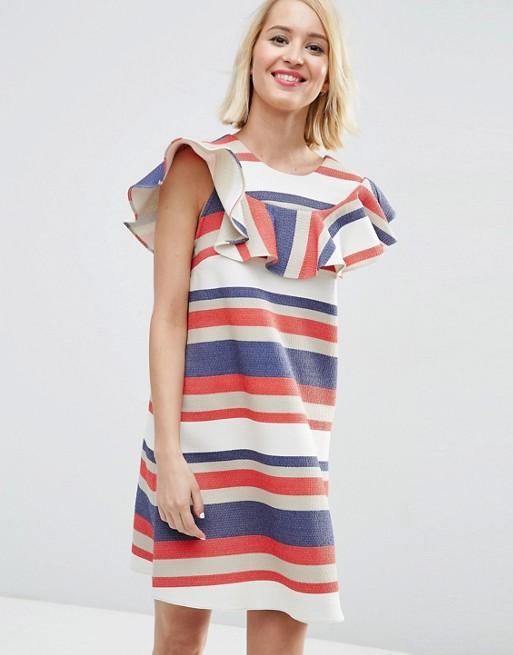 Natural Fibre Frill Front Shirt Dress