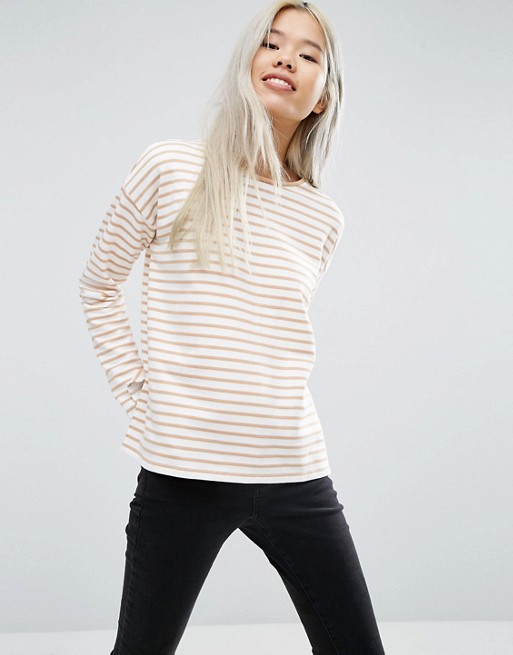 Top with Long Sleeve in Baby Loopback Stripe
