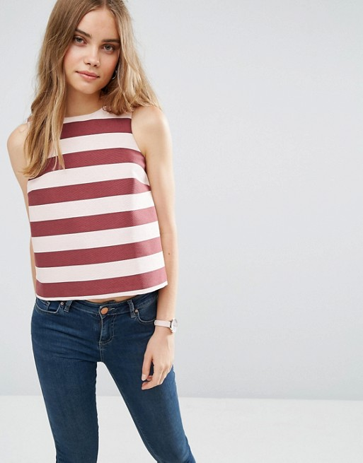 Structured Stripe Shell Top
