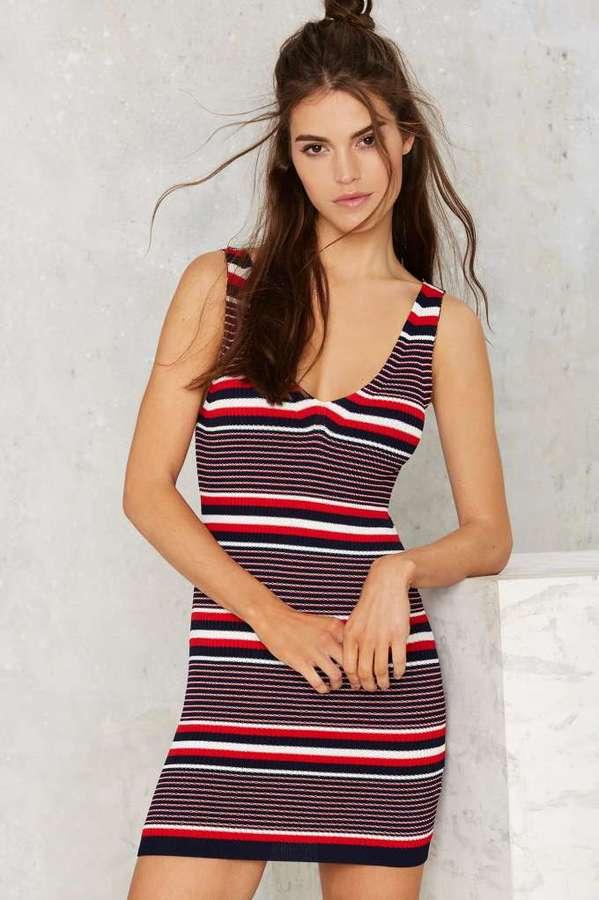 V Neck V Back Stripe Dress