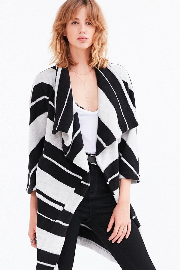 Kendall Striped Wrap Coat