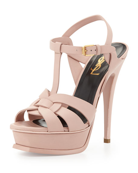 Tribute Leather Platform Sandal Pale Rose