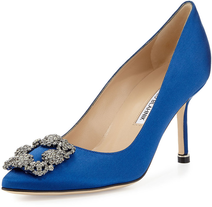 Hangisi Crystal Buckle Satin Pump