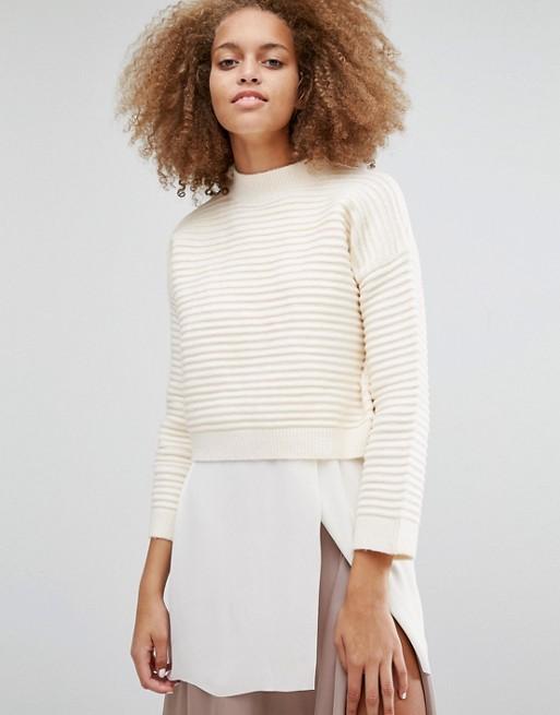 Boxy Cropped Rib Sweater