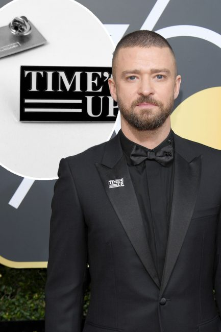 "Male actors, directors, and producers showed their support by wearing ""Time's Up"" lapel pins to the 2018 Golden Globes."