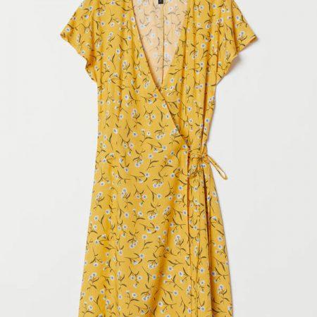 Patterned Wrap-front Dress
