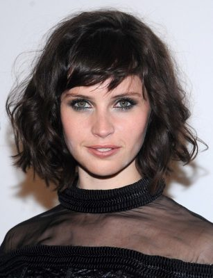 Celebrity Short Hairstyles Felicity Jones Messy Curly Haircut